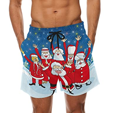 Bennigiry Mens Christmas Skiing Chevron Surf Swim Trunks Quick Dry Beach Pants Board Shorts