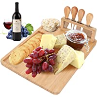 Cheese Board Cheese Plates, Bamboo Cheese Board and Knife Set, Cheese Plates, Large and Thick Cheese Board Set Cheese…