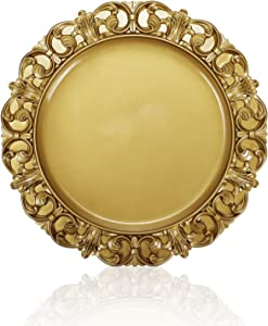 CheeseandU Gilded Dinner Plate Vintage Gold Serving Tray Dessert Steak Tray Bbq Food Container,Towel Tray Storage Tray Fruit Trays Cosmetics Jewelry Organizer Wedding Décor Plate, Plastic Round 13