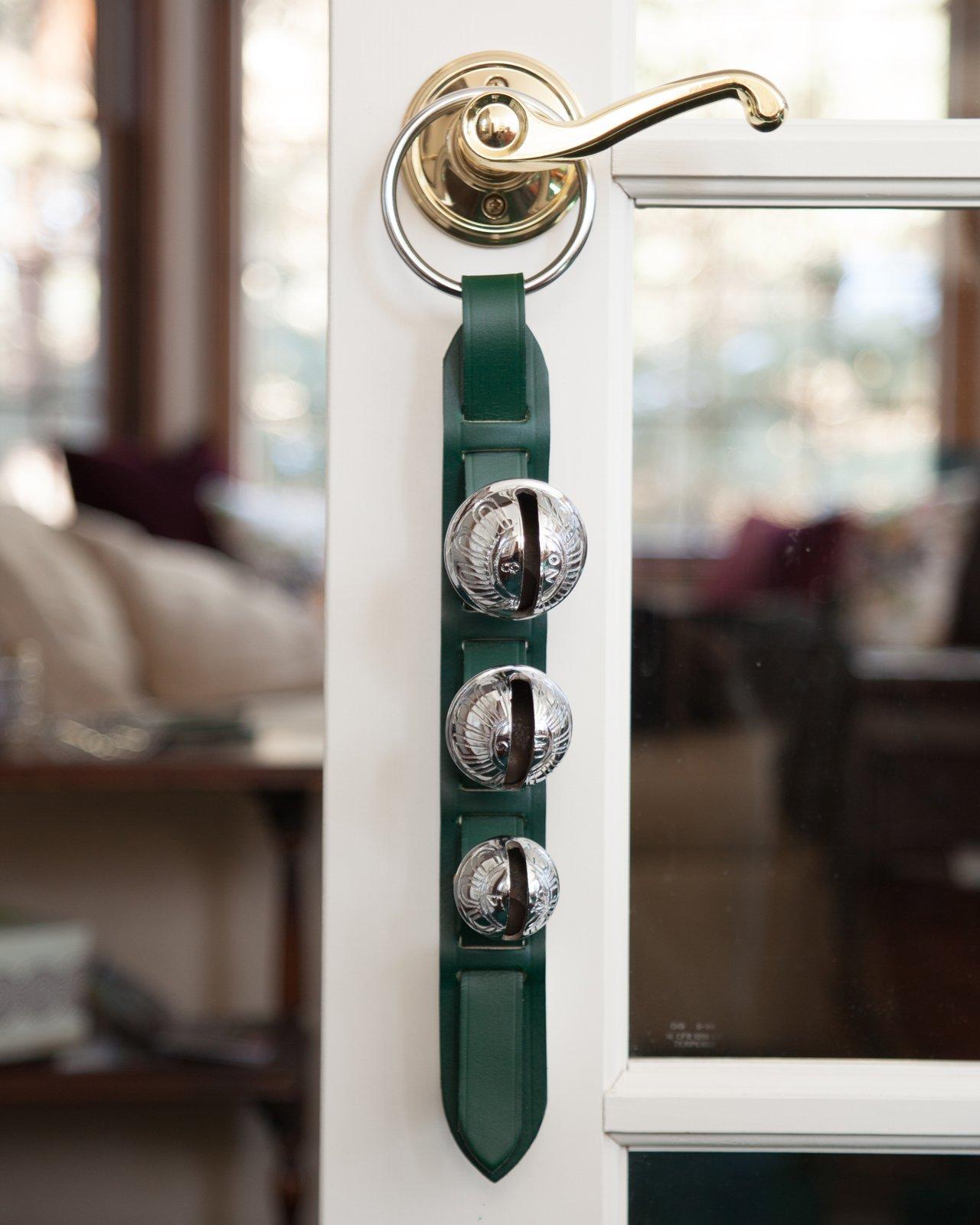 Premium Chrome Green Leather Horse Sleigh Bell Door Knocker 3 Brass Bells