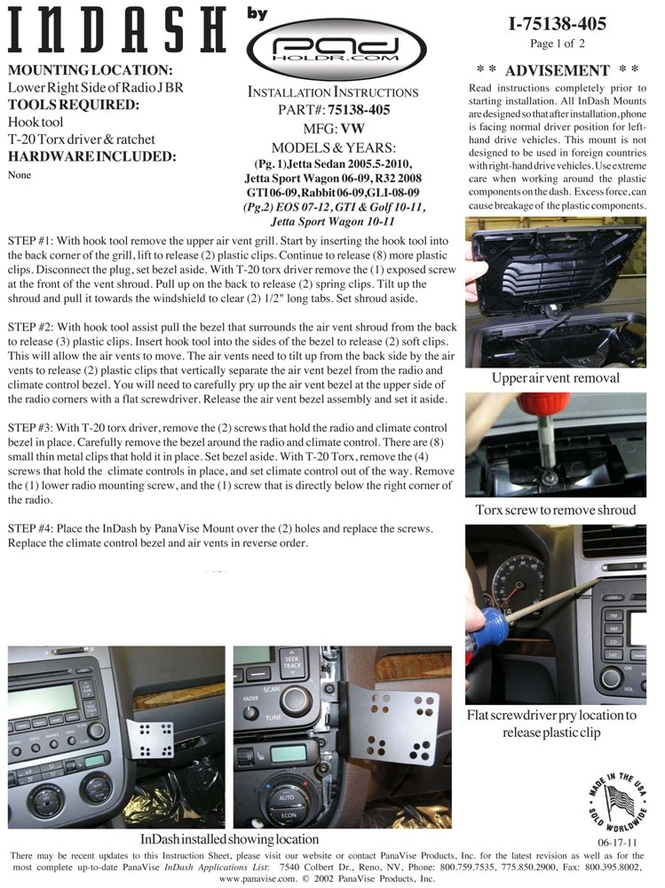 Padholder Edge Series Premium Tablet Dash Kit 2005.5-2012 Volkswagen Vehicles for iPad /& Other Tablets Pad Holdr PHE75138-405