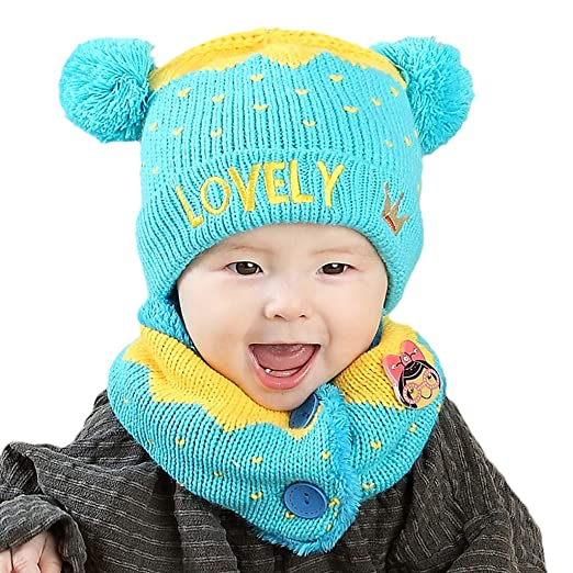 95281b51dde Fanct Baby Winter Knitted Hat Fluffy Dual Pompom Ball Ear Contrast Color  Beanie Cap Letter Crown