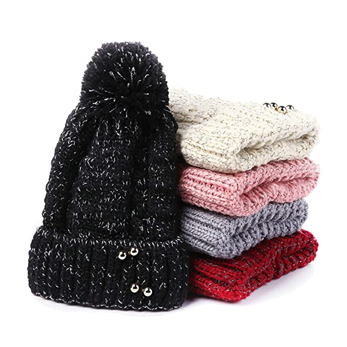 Aooaz Cappello Donna Cappelli Invernali in Lana Hair Ball Knitting with  Pearl Berretti Donna Beigeregalo di Natale  Amazon.it  Abbigliamento d6cd2b2212e6