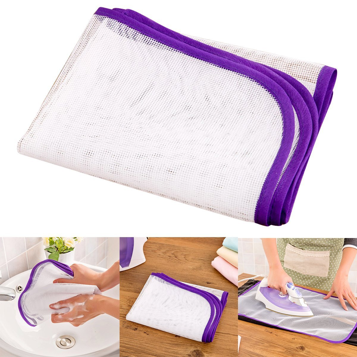 6 PCS 3 Pink and 3 Purple Saving Mesh Pressing Pad Cloth - Protective Ironing Scorch Mesh Cloth Anyumocz