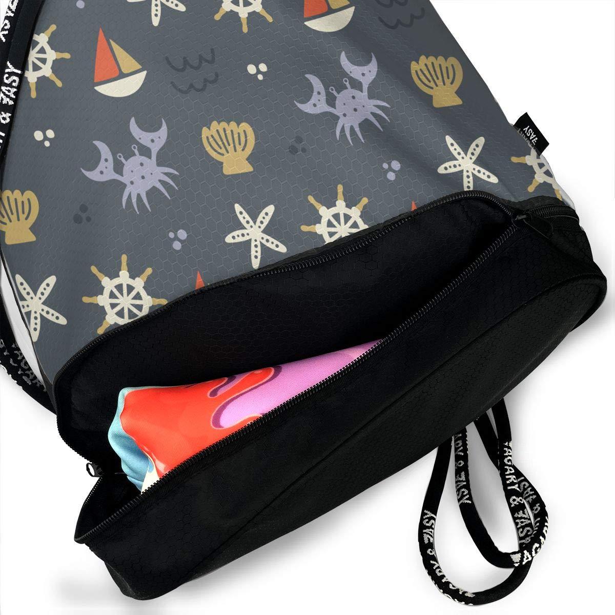 HUOPR5Q Dolphin Drawstring Backpack Sport Gym Sack Shoulder Bulk Bag Dance Bag for School Travel