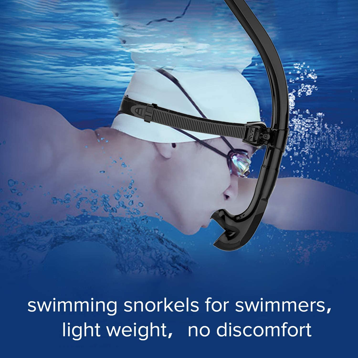 Snorkle Set for Swimming Training Suitable for Adult and Kids Swimmer Front Snorkeling Gear with Comfortable Mouthpiece Easy Breath in Pool and Open Water GENFFY Swim Snorkel for Lap Swimming