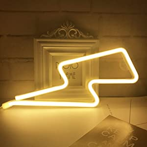 Neon Light,LED Lightning Sign Shaped Decor Light,Wall Decor for Christmas,Birthday party,Kids Room, Living Room, Wedding Party Decor (Warm white)