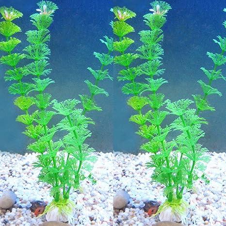 HMOCNV Planta artificial verde hierba plantas de agua para pecera acuario decoración adorno césped de plástico