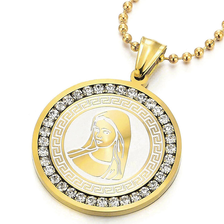 Color Oro Medalla Milagrosa Virgen María Marry Collar Colgante con Zirconio Cúbico