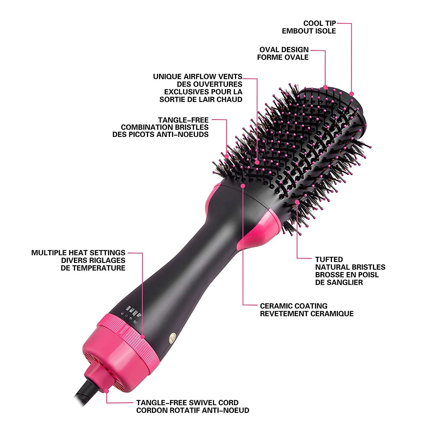 One Step secador de pelo y voluminizador, Salon Hot Air Paddle Styling Brush generador de iones negativos Hair Curler Styler para todos los tipos de ...