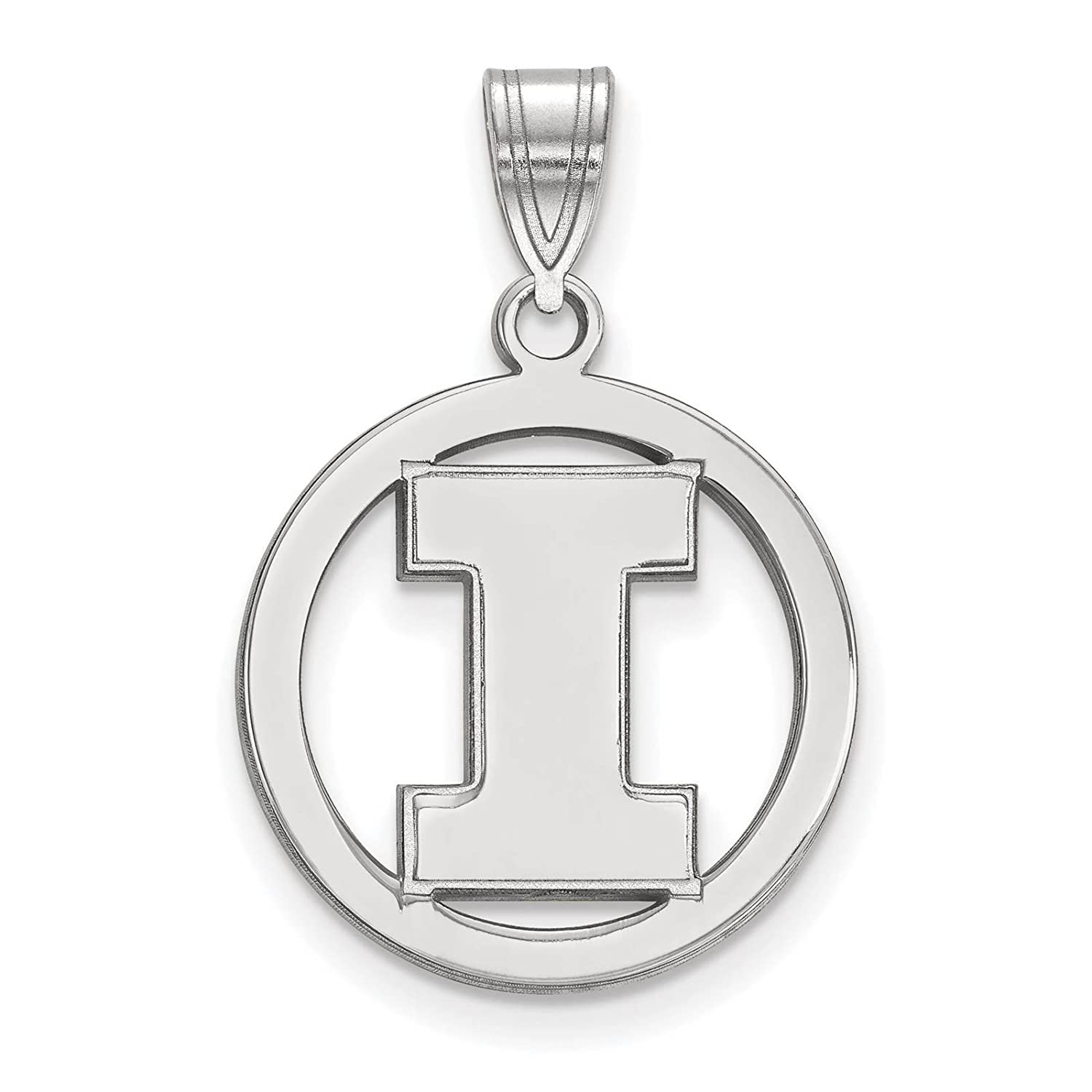 925 Sterling Silver Rhodium-plated Laser-cut University of Illinois Small Circle Pendant