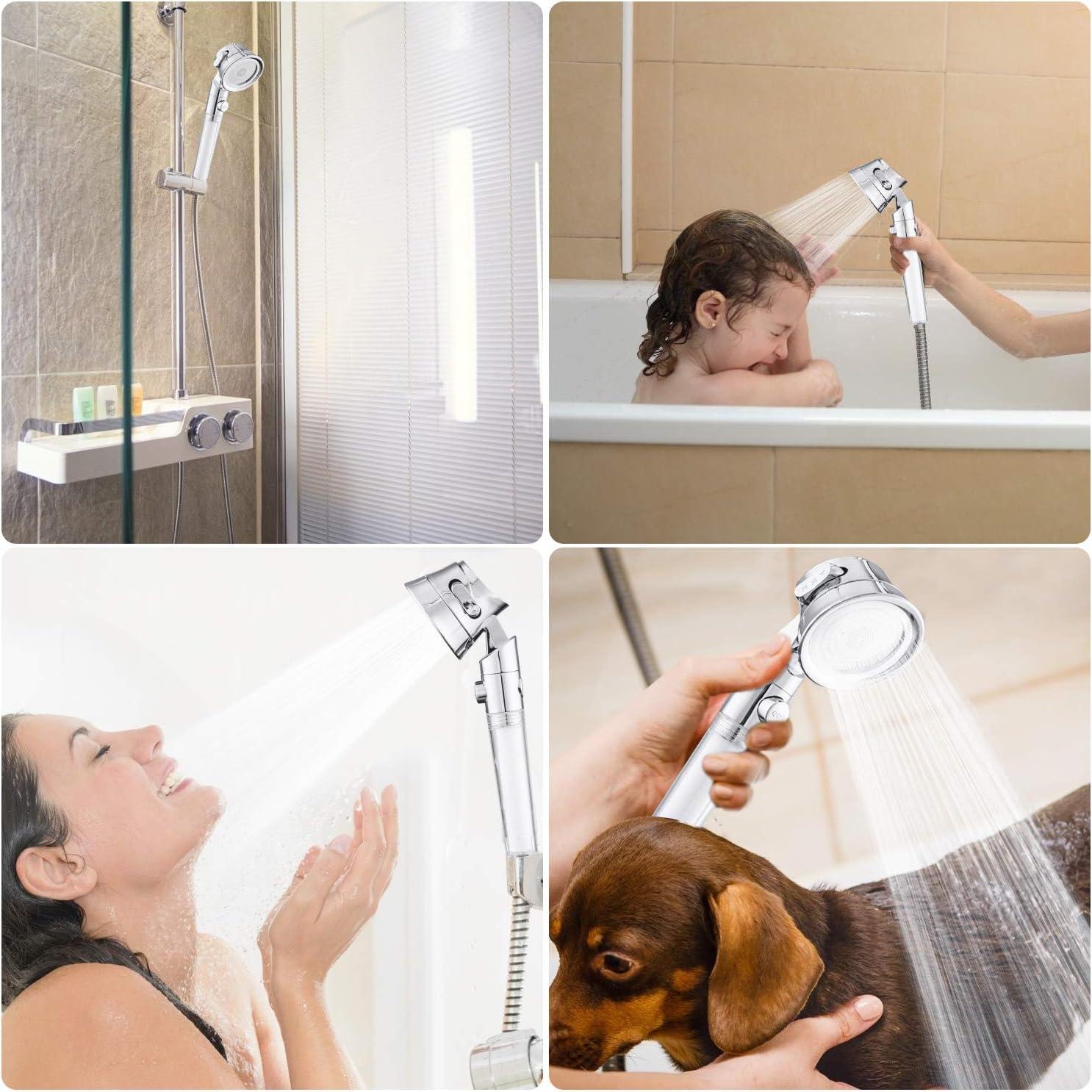 pommeau de douche haute pression y compris 2 filtres rempla/çables /économiseur deau 3 modes de pulv/érisation avec pause on//off Weihao Pommeau de douche