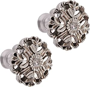 YING CHIC YYC 1Pair Drapery Medallion Holdbacks Resin Curtain Hollow Out Wall Hooks