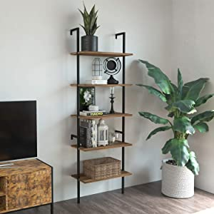 IRONCK Industrial Ladder Shelf Bookcase 5 Tier, Wood Shelves Wall Mounted,Stable, Expand Space Bookshelf, Retro Wall Decor Furniture for Living Room, Kitchen, Bar Storage