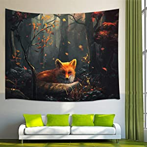 NYMB Painting Animal Lover Fox in The Forest Wall Art Home Decor, Tapestry Wall Hanging Bedroom Living Room Dorm, Beach Towel (Multi7, 60