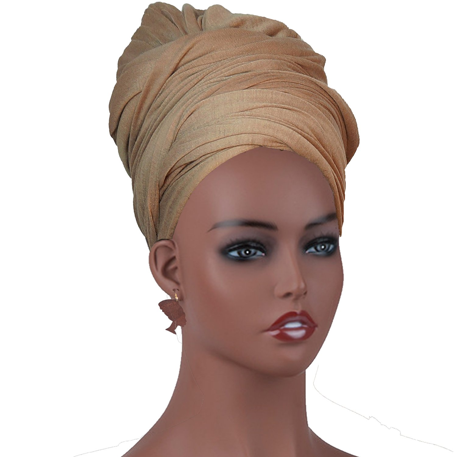 Amazon.com: Long Stretch Head Wrap Set- Solid Color African Turban Hair Scarf Tie, Double Sided Edge Control Hair Brush Comb Combo,Wooden Colored Turban ...