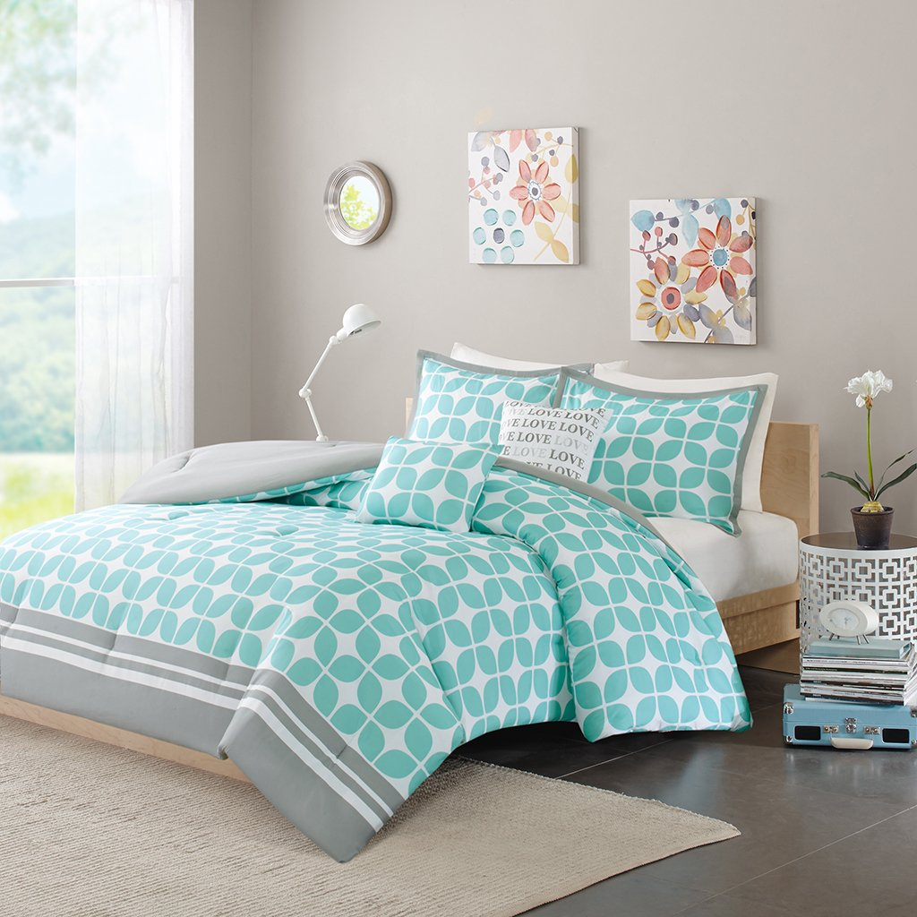 Intelligent Design ID10-381 Lita Comforter Set, Full/Queen, Aqua