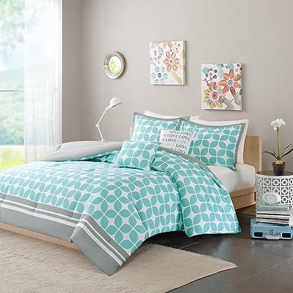 Superbe Intelligent Design Lita Comforter Set Full/Queen Size   Aqua, Geometric  Motif U2013 5