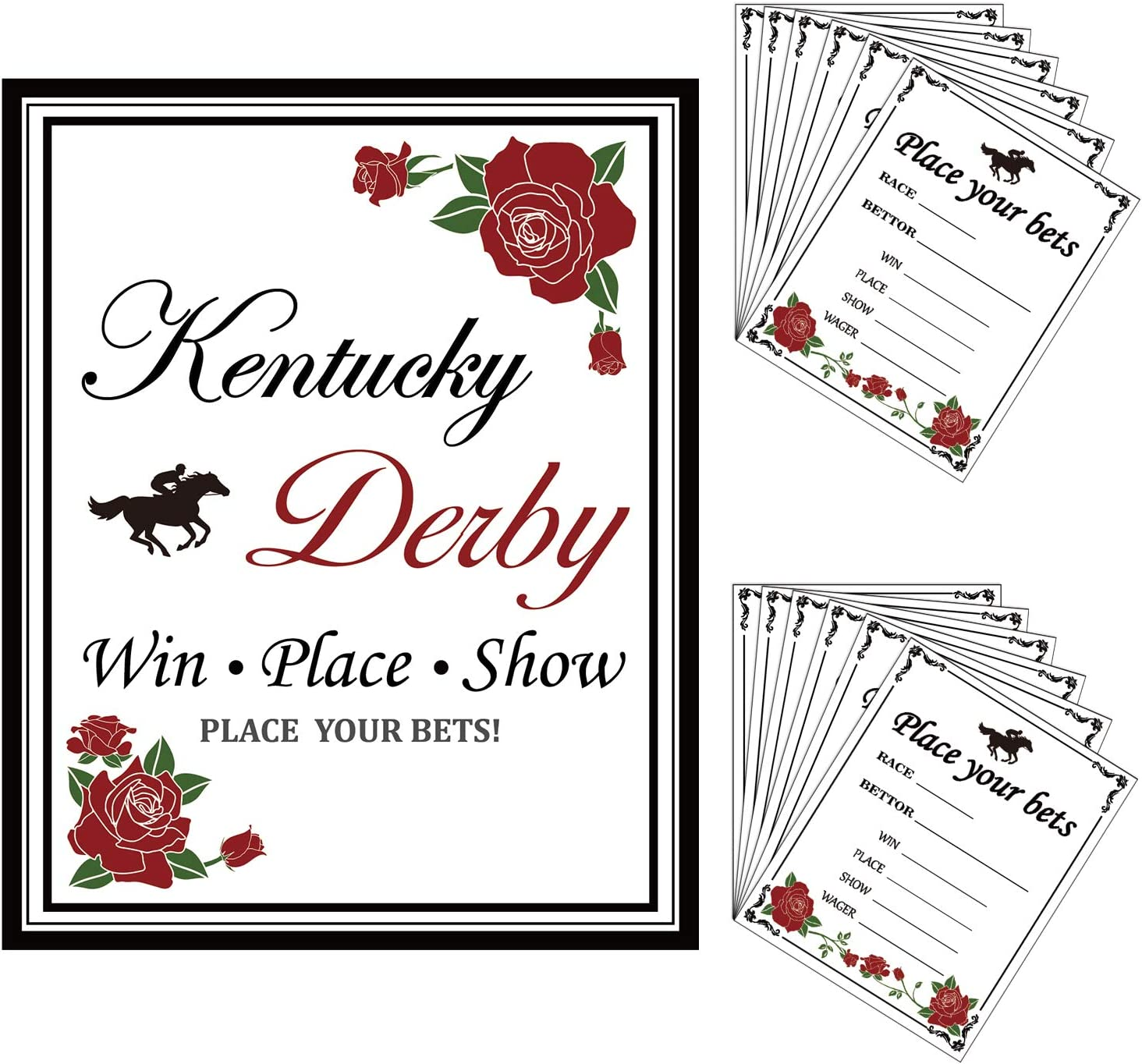 Kentucky Derby Party Supplies, ANGOLIO 25Pcs Betting Card for ...