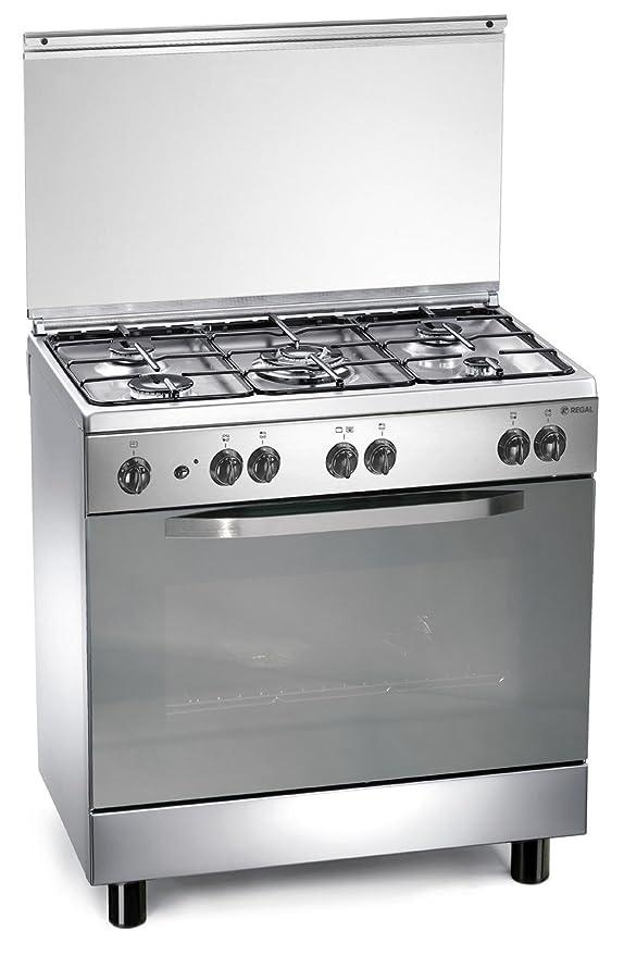 Cocina gas 80x50x85 cm inoxidable con 5 quemadores y horno a gas ...