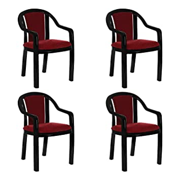Supreme Ornate Plastic Cushion Chair Black Red Set Of 4 Amazon In Home Kitchen