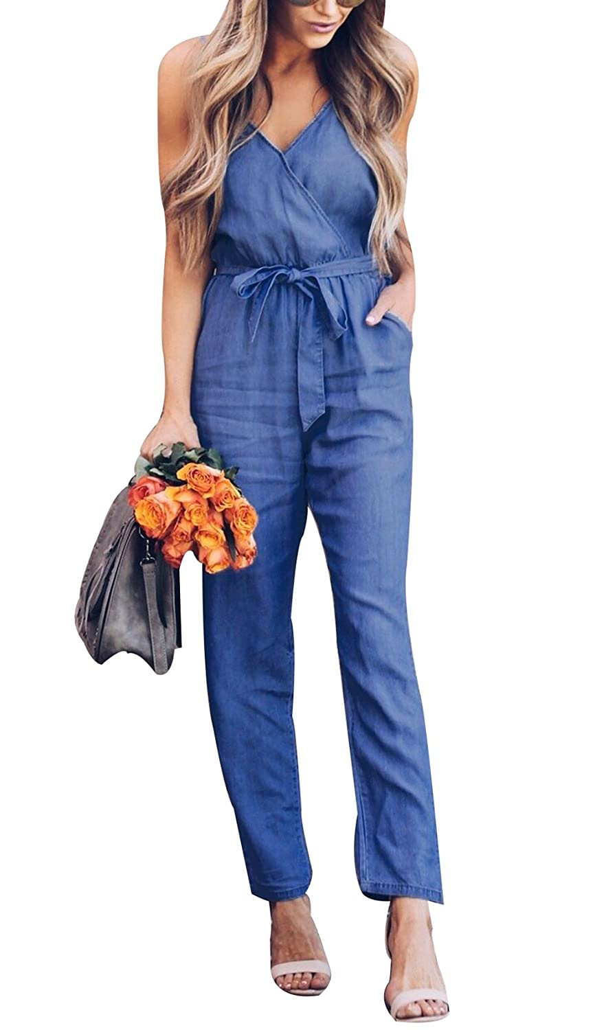 Doqcey Women's Denim Spaghetti Strap High Waist Belted Stretchy Long Pants Jumpsuits Rompers M)