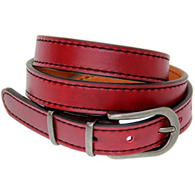 fbdba6e0eb845 Womens 1 Inch Skinny Red Leather Belt Black Stitching Double Layer Size 30