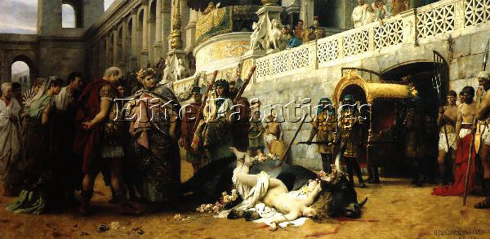 SIEMIRADZKI HENRYK CHRISTIAN DIRCE ARTIST PAINTING OIL CANVAS REPRO ART DECO 16x32inch MUSEUM QUALITY