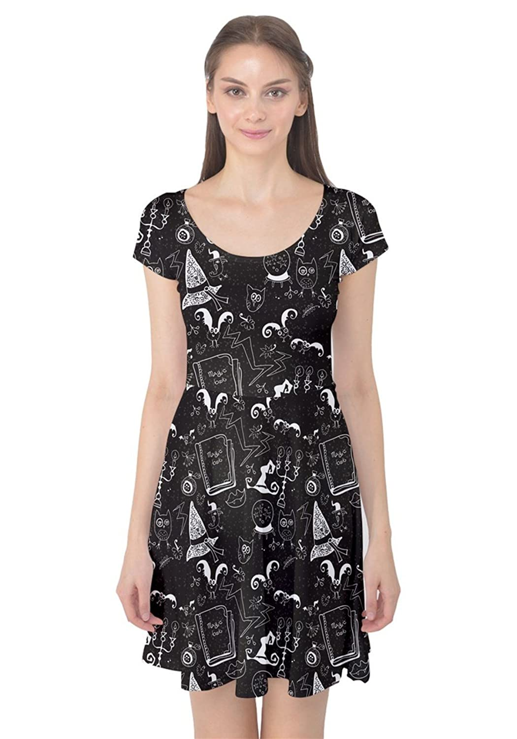 Womens Halloween Bats Pumkins Spider Ghost Witch Short Sleeve Dress