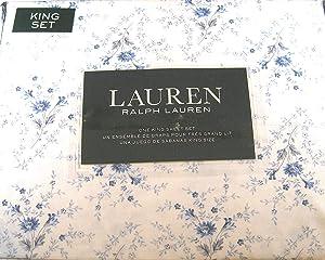 Lauren 4 Piece King Size Floral Print Sheet Set Blue and White 100% Cotton