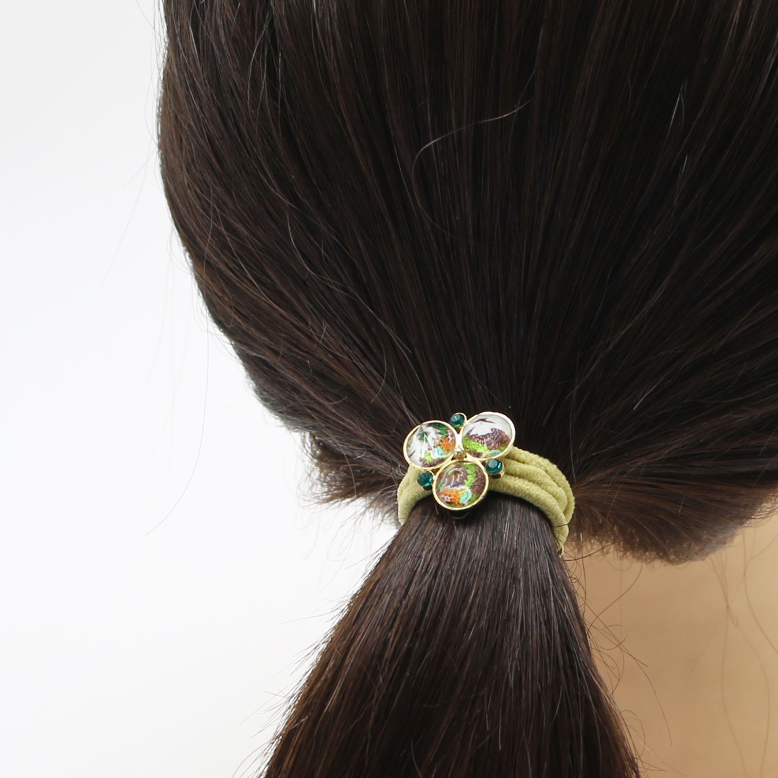 Tamarusan Ponytail Holder Small Size Pansy Yellow Green Unisex High-Grade by TAMARUSAN (Image #4)