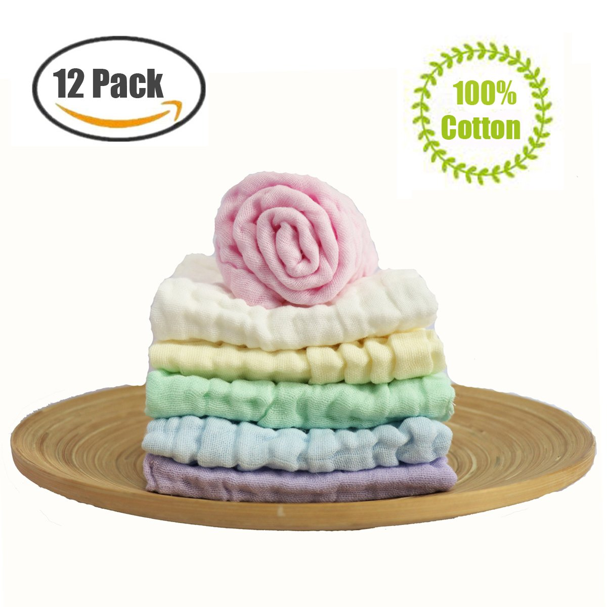 BWINKA 12-Pack Gauze Muslin Square, 11 x11 orgánicos Baby Washcloths, Premium reutilizables toallitas - Extra suave para la piel sensible, recién nacido Muslin cálido bebé toallas de baño C-50