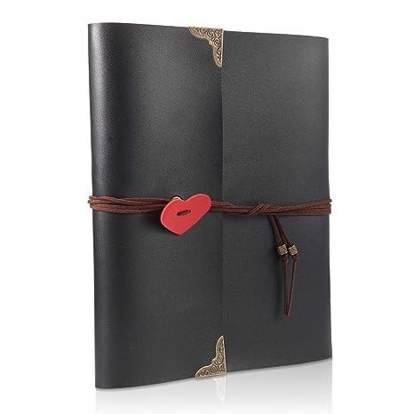 ThxMadam Scrapbook Cuero Álbum de Fotos Libro de Visitas de Boda con 60 Páginas Negras Presentes
