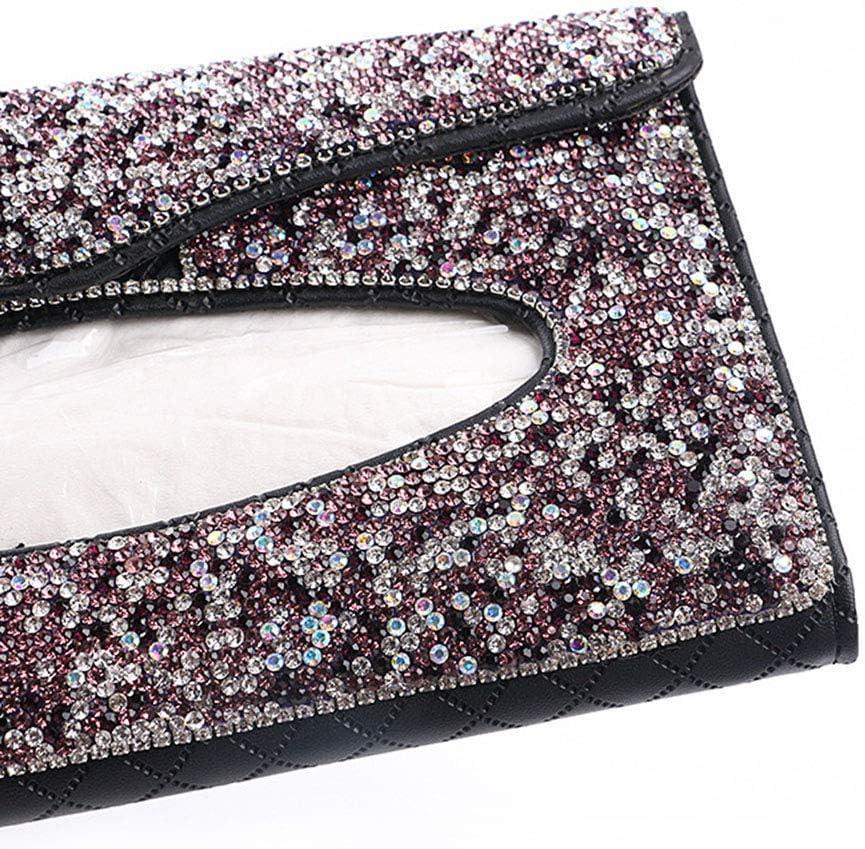 Bling Tissue Box-Beige Leather Crystals Paper Towel Cover Case for Women EGBANG Bling Bling Car Visor Tissue Holder Ladies