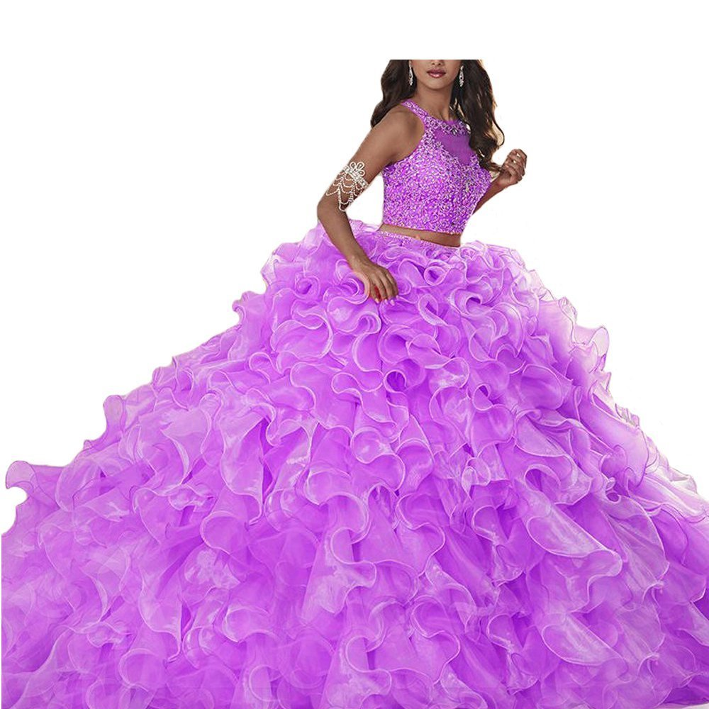 Style 2 purple XSWPL Gorgeous Heavy Beaded Organza Quinceanera Dresses for Sweet 16 Ball Gowns