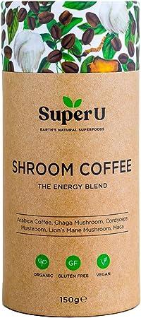 Super U Shroom Coffee (60 Servings) - Organic Instant Mushroom Coffee with Chaga, Cordyceps and Lion's Mane Mushroom. 100% Arabica Coffee!
