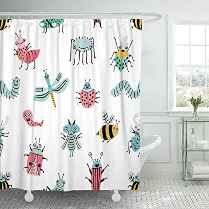 Emvency Fabric Shower Curtain With Hooks Cute Funny Bug Happy Cartoon Insects Colorful Animal