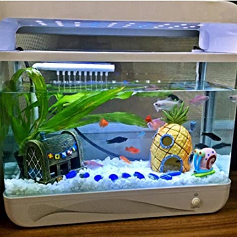 rcool casa adorno de acuario Fish Tank Cartoon resina piña castillo Torre Paisaje Submarino Decoración (7.5 * 7,5 * 8,5 cm): Amazon.es: Productos para ...