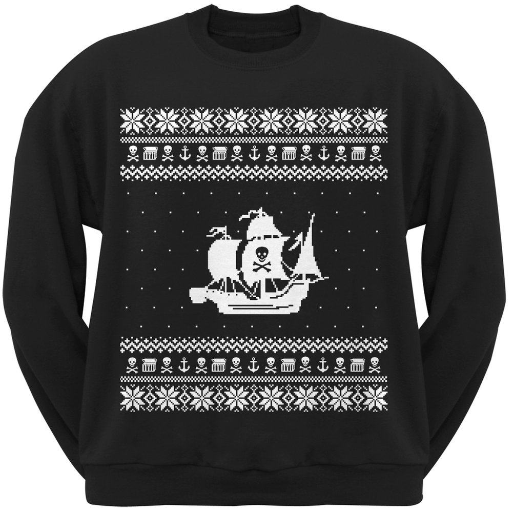 Old Glory Pirate Ship Ugly Christmas Sweater Black Crew Neck Sweatshirt