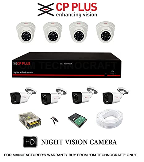 CP Plus Astra HD 8 Channel DVR with 2.4 MP 4 Dome & 4 Bullet Cameras + 2 TB Surveillance HDD + (3+1) Cable 90 Mtr + 8 CH Power Supply + BNC & DC Full Combo Kit Dome Cameras at amazon