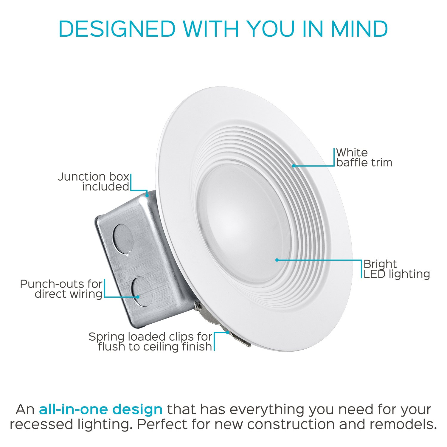 Luxrite 5/6 Inch LED Recessed Light with Junction Box, 15W, 5000K Bright White, Dimmable Airtight Downlight, 1100 Lumens, Energy Star, IC & Wet Rated, 120V - 277V, Recessed Lighting Kit (12 Pack) by LUXRITE (Image #4)