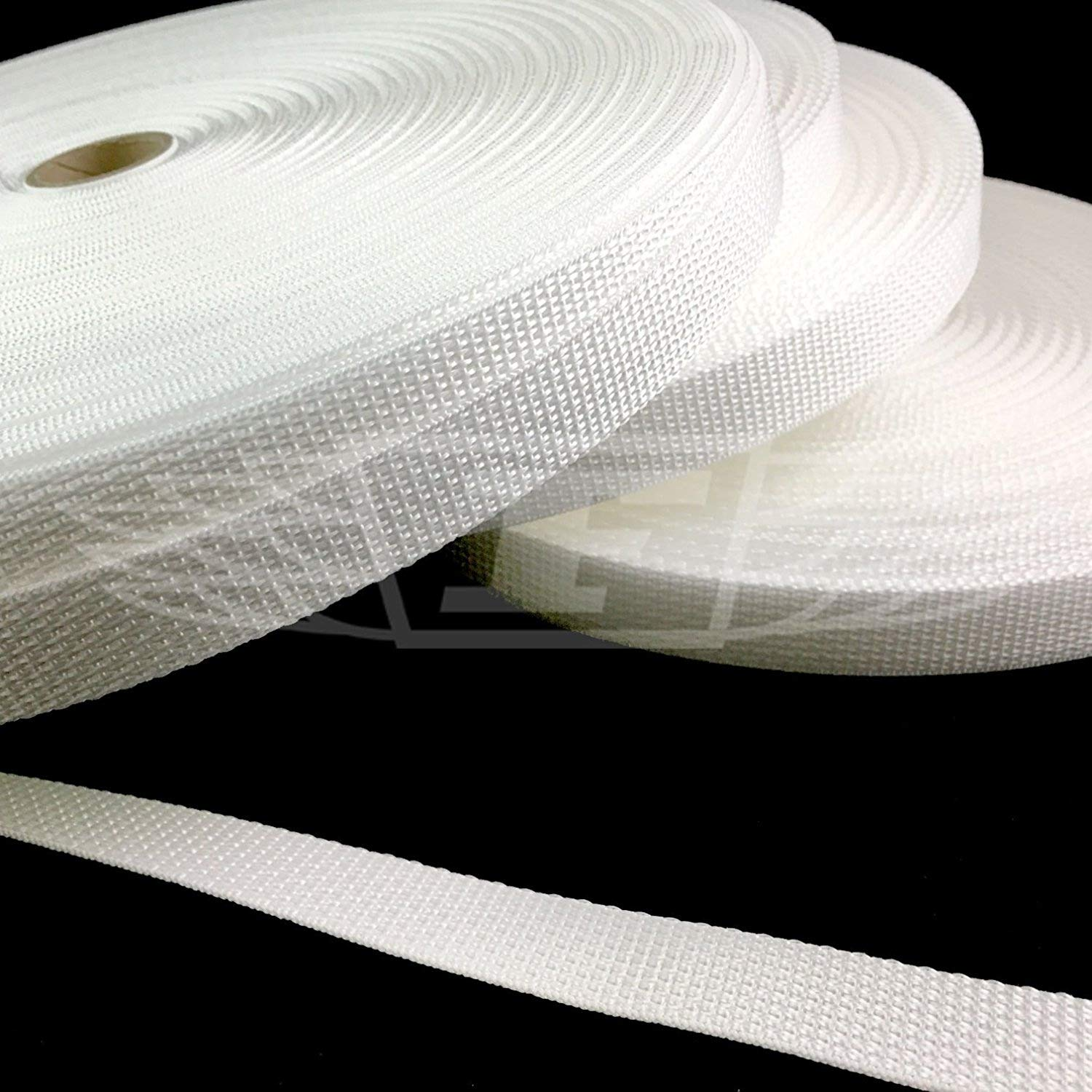 WHITE 20mm POLYPROPYLENE WEBBING STRAPPING, BAGS, STRAPS, WEAVE (15)