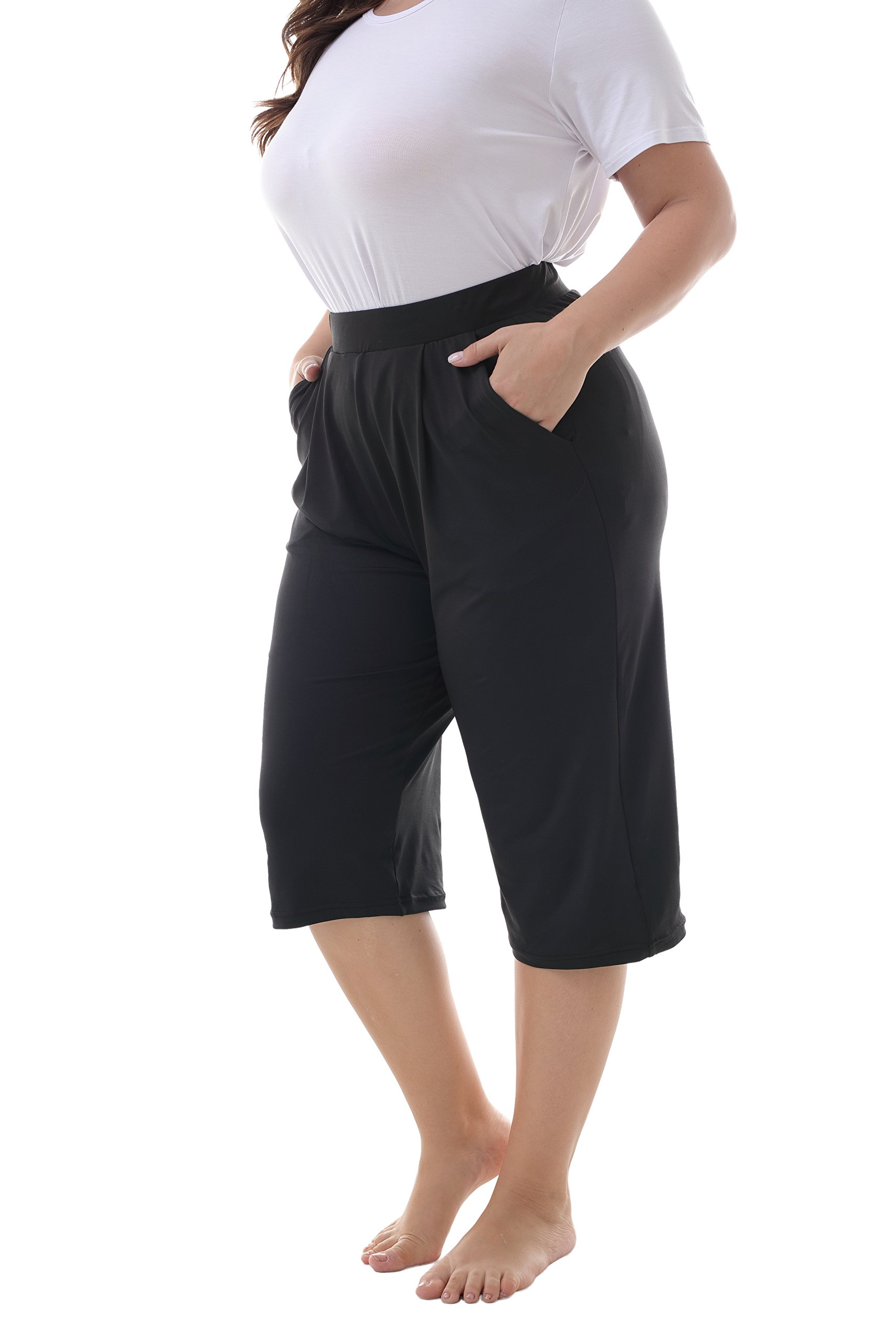 ZERDOCEAN Women's Plus Size Stretchy Relaxed Lounge Capris with Pockets Black 2X