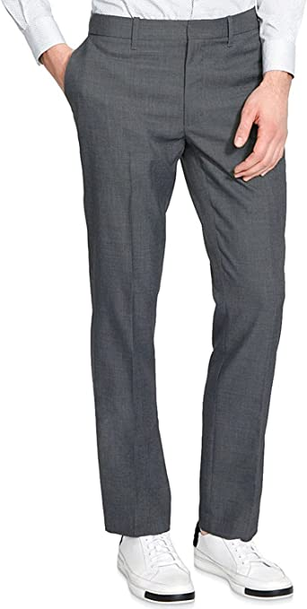 Kenneth Cole REACTION Mens Techni-Cole Mini Check Modern Fit Flat Front Dress Pant