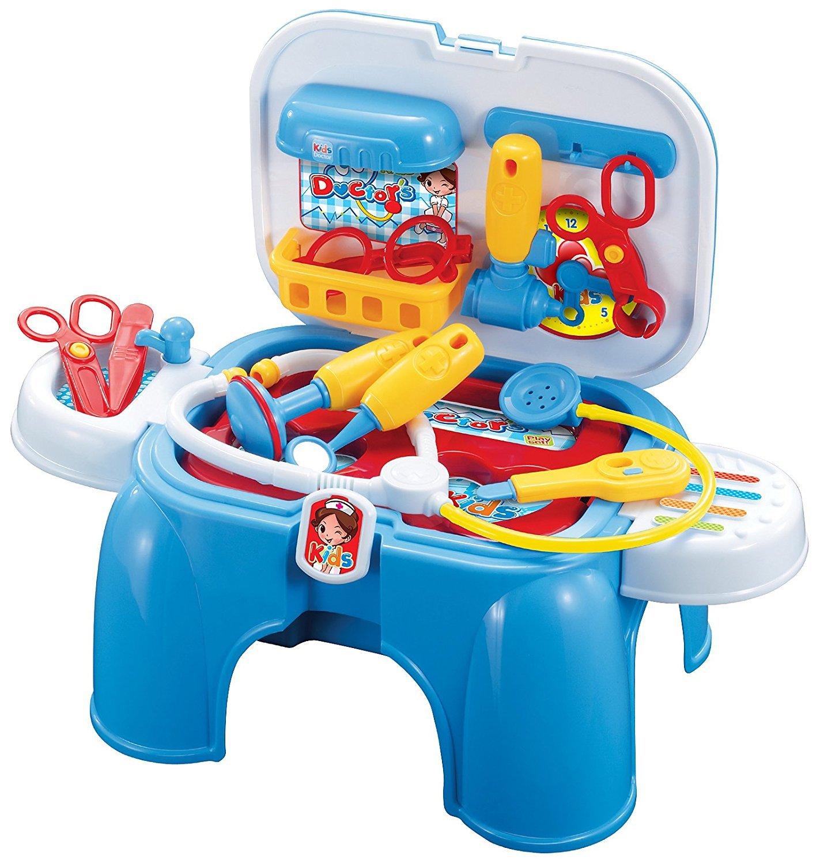 Kids Doctors Medical Play Set ~ポータブル~変換に座っているベンチ/スツール   B075XYP94D