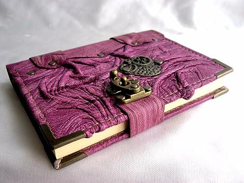 Handmade Small leather journal notebook sketchbook with Steampunk Heart emblem
