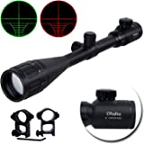 6-24x50 AOE Red and Green Gun Rifle Scope, Ohuhu Illuminated Mil Dot Reticle Hunting Scope with Free Mounts