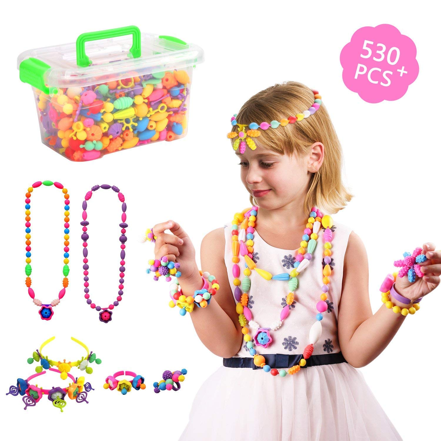 Inseacat Pop Snap Beads, Beauty Crafts Toys Jewelry Making Kit for 4,5,6,7 Year Old Girls Toddlers - Necklace, Bracelet and Ring Creativity DIY Set - Ideal Birthday & Educational Gifts (530 PCS)