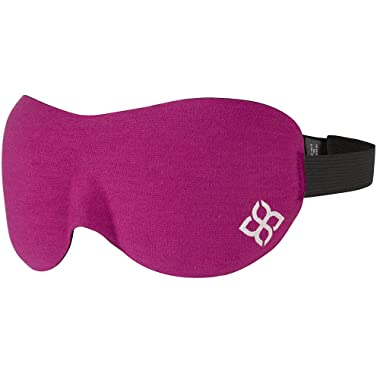 Sleep Mask by Bedtime Bliss - Contoured & Comfortable With Moldex Ear Plug Set. Includes Carry Pouch for Eye Mask and Ear Plugs - Great for Travel, Shift Work & Meditation (Pink)