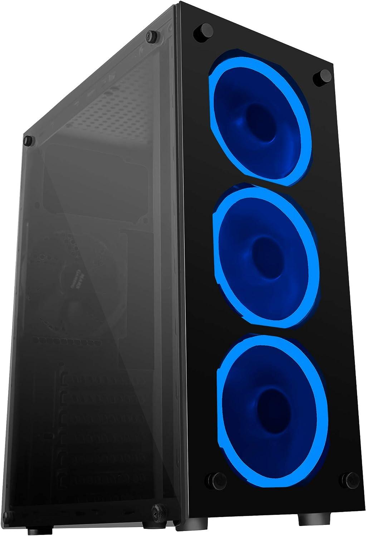 Mars Gaming MCG, caja de PC ATX, cristal templado, 3 ventiladores LED azul: Mars-Gaming: Amazon.es: Informática